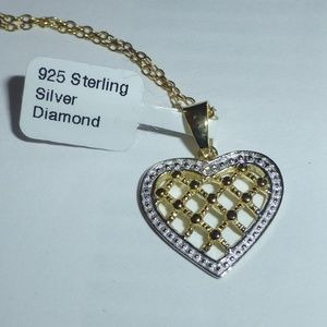 Jewelry - Sterling Silver Genuine Diamond Heart Necklace NWT